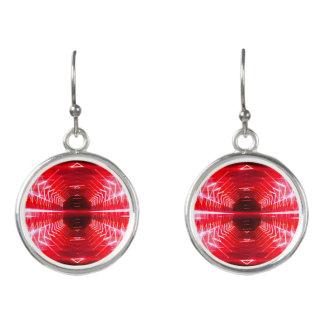 Boucles D'oreilles Vortex rougeoyant graphique moderne, rouge -