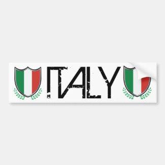 Bouclier de drapeau de l'Italie avec des lauriers Autocollant De Voiture