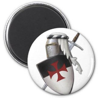Bouclier de Templar de chevaliers Magnet Rond 8 Cm