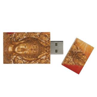Bouddha d'or clé USB 2.0 en bois