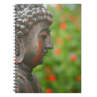 Bouddha méditant dans le carnet de jardin