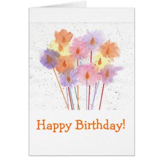 Bougies de fête de joyeux anniversaire carte de vœux