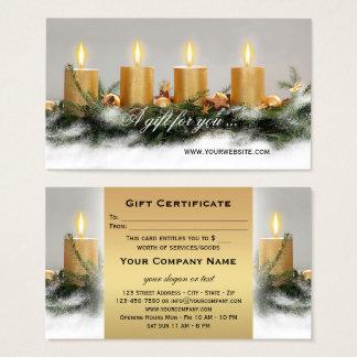 Bougies d'or de Noël de modèle de certificat-prime Cartes De Visite