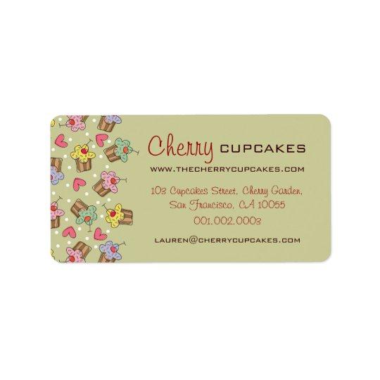 Boulangerie de confiserie de petits gâteaux de étiquette d'adresse