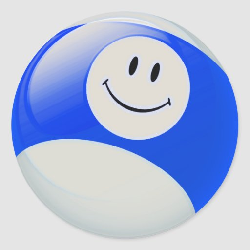 Boule de billards souriante de visage adhésif rond