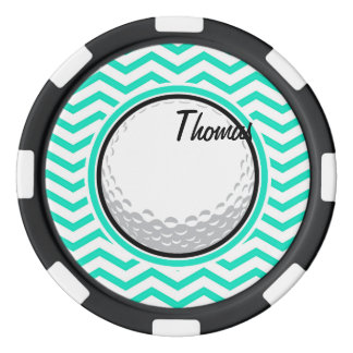 Boule de golf ; Aqua Chevron vert Lot De Jeton De Poker