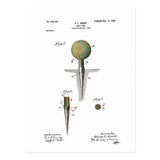 Boule de golf de brevet sur la pièce en t carte postale