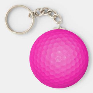 Boule de golf rose porte-clefs