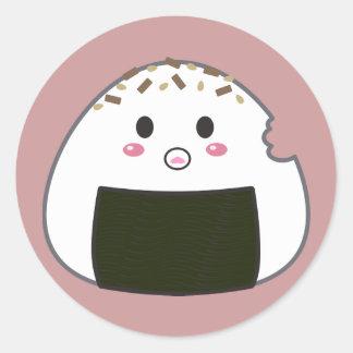 """Boule de riz de Kawaii """"Onigiri"""" avec Bitemark Sticker Rond"""