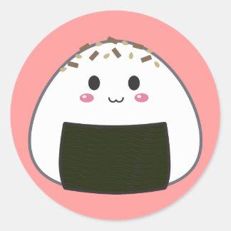 "Boule de riz de Kawaii ""Onigiri"" avec des Sticker Rond"