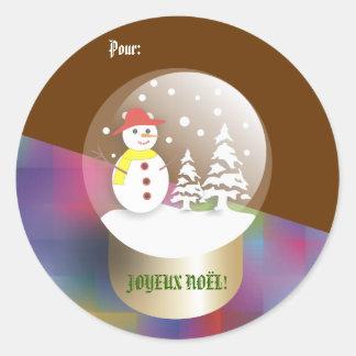 Boule een wereldbolEtiquettes van de neigeSneeuw Ronde Sticker