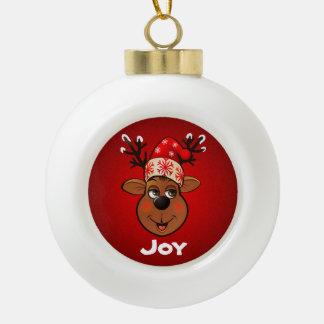 Boule En Céramique Bande dessinée du renne de Père Noël customisé