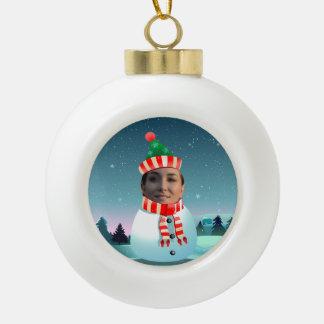 Boule En Céramique Bonhomme de neige drôle customisé avec votre photo