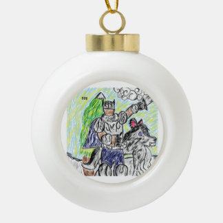 Boule En Céramique chevalier et loup 2