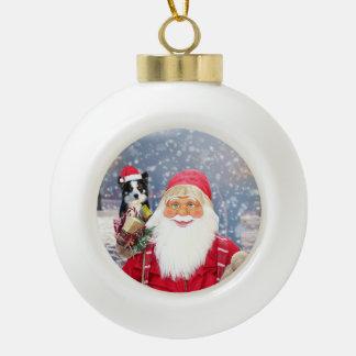 Boule En Céramique Chien de border collie de cadeaux de Noël du père