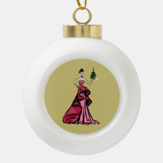 Boule En Céramique Illustration de mode de Noël avec l'arbre