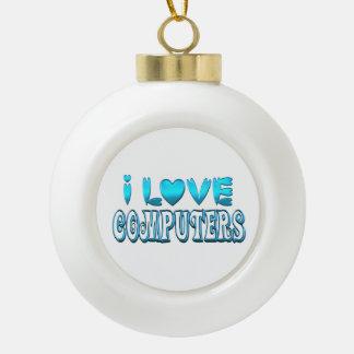Boule En Céramique J'aime des ordinateurs