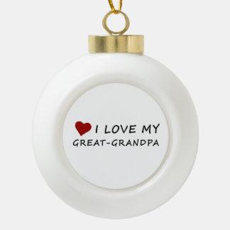 Boule En Céramique J'aime mon Grand-Grand-papa avec le coeur
