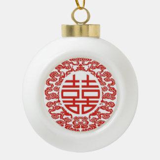 Boule En Céramique mariage chinois moderne de double bonheur rouge