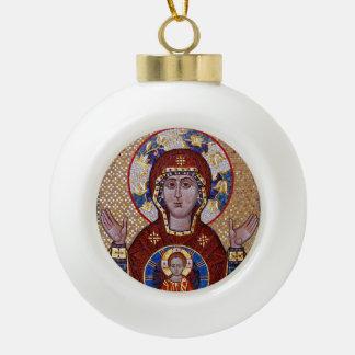 Boule En Céramique Mère d'Oranta d'ornement de Noël d'icône de Dieu