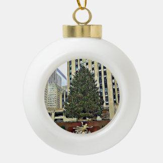 Boule En Céramique Noël de piste de patinage d'arbre de NYC