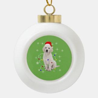 Boule En Céramique Noël de vacances de chiot de golden retriever