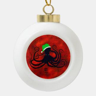 Boule En Céramique Poulpe de Noël sur le rouge
