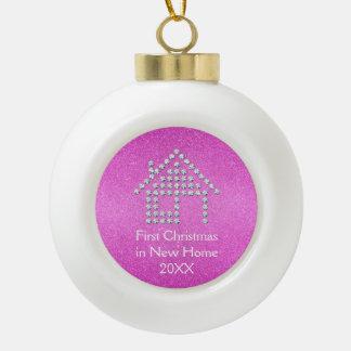 Boule En Céramique Premier Noël dans le nouveau scintillement rose de