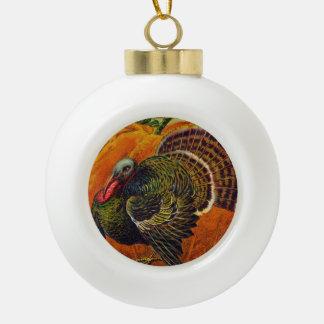 Boule En Céramique Thanksgiving Turquie devant un citrouille orange