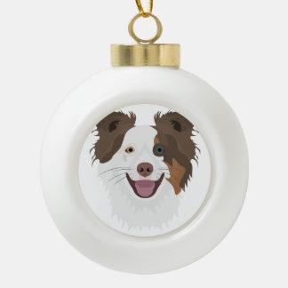 Boule En Céramique Visage heureux border collie de chiens