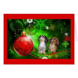 Boule rouge Green1 de carte de Noël de teckel