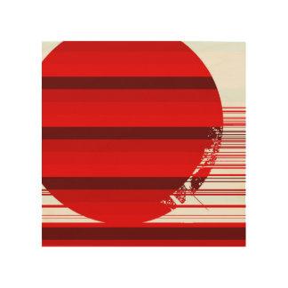 boule rouge impression sur bois