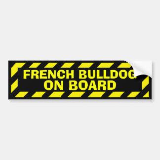 Bouledogue français à bord d'autocollant jaune de autocollant de voiture
