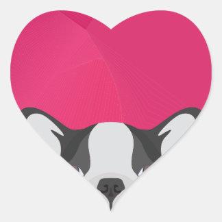 Bouledogue français d'illustration avec l'arrière sticker cœur