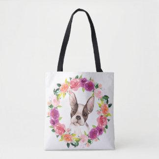 Bouledogue français, sac fourre-tout floral à