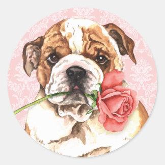 Bouledogue rose de Valentine Sticker Rond