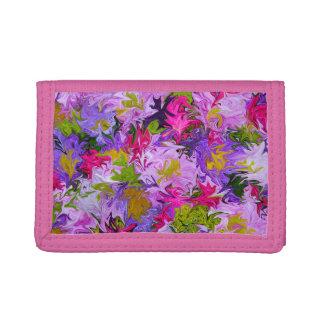 Bouquet de couleurs sur le portefeuille rose