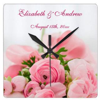 Bouquet de épouser rose de roses horloge carrée