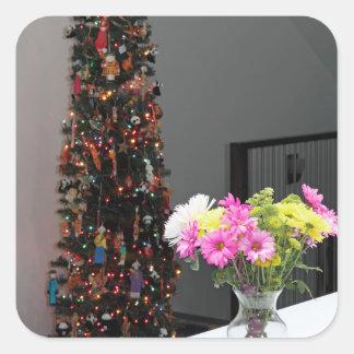 Bouquet de fleur et arbre de Noël colorés Sticker Carré