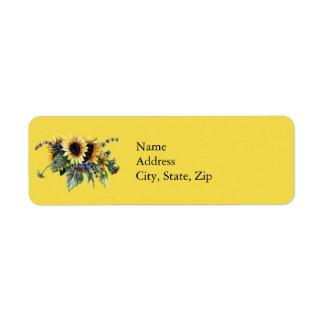 Bouquet de tournesol étiquette d'adresse retour