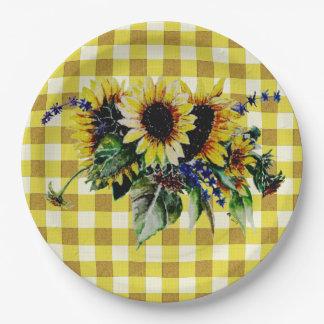 Bouquet de tournesol sur le guingan jaune assiettes en papier