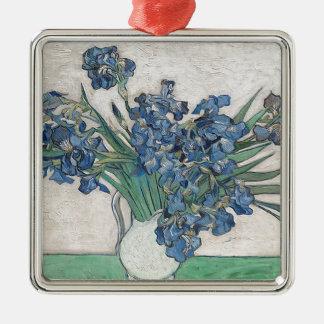 Bouquet des fleurs à la nuance bleue ornement carré argenté
