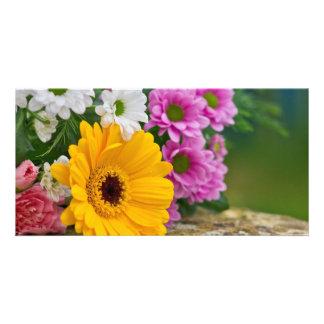 Bouquet des fleurs carte avec photo