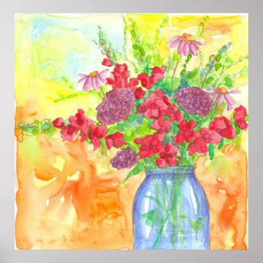 Bouquet rouge de fleur d'aquarelle de mufliers poster