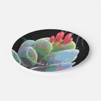 Bourgeon floraux de cactus assiettes en papier
