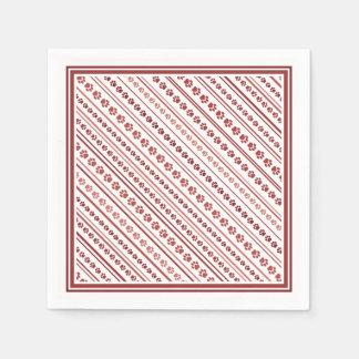 Bourgogne et serviette rose de cocktail de rayure serviette en papier