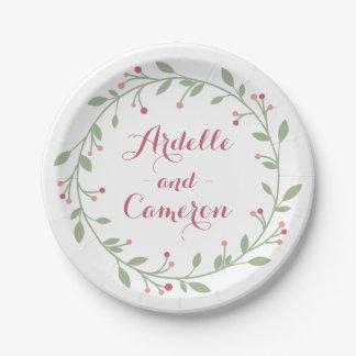 Bourgogne rose personnalisé floral et mariage vert assiettes en papier
