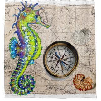 Boussole de chaux d'hippocampe nautique rideaux de douche
