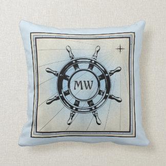 Boussole nautique bleue vintage de vieille barre oreillers