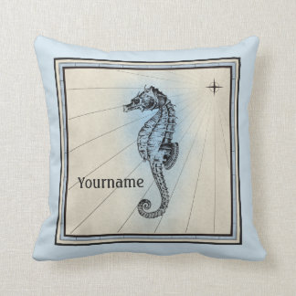 Boussole nautique bleue vintage d'hippocampe de coussin décoratif